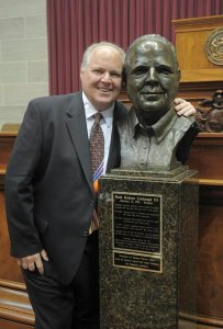 Rush Limbaugh By Bust Of Himself